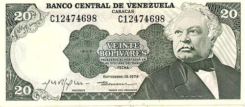 billete de 20 bs de 1979, unc-