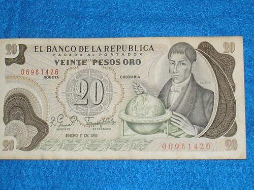 billete de 20 pesos colombianos de 1981