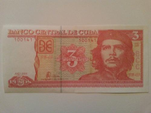 billete de 3 pesos ernesto che guevara republica de cuba