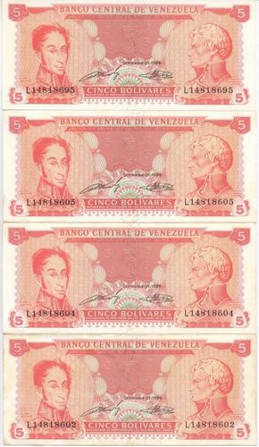 billete de 5 bolívares 1989 serial l8