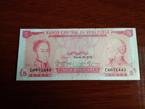 billete de 5 bolivares año enero 29 1974 serie e6631443