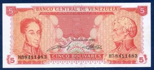 billete de 5 bolívares septiembre 21 de 1989 serial h8   ef+