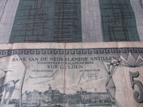 billete de 5 florines de las antillas neerlandesas 1984
