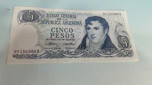 billete de $ 5 ley 18.188 sin circular con linda numeracion