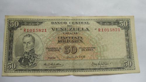 billete de 50 bolivares  año 1970