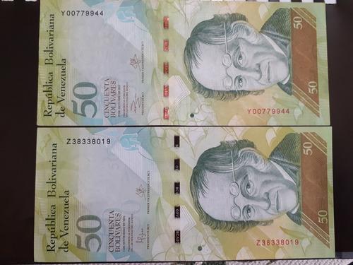 billete de 50 bolívares fuertes serial y z ( 4 verdes)