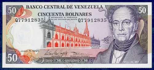 billete de 50 bolívares junio 1995 q8 au, casi sin circular