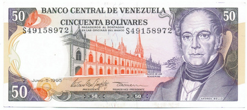 billete de 50 bolívares junio 5 de 1995 serial s8   ef/ ef+