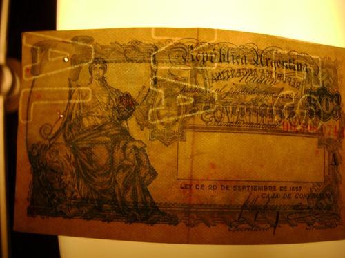 billete de 50 ctvs.caja de conversion con rara marca de agua
