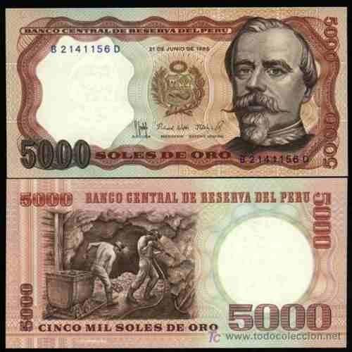 billete  de 5000 soles  año 1985  en perfecto  estado