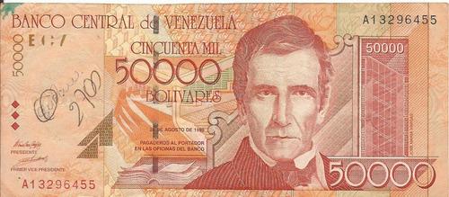 billete de 50.000 bs. primera serie año 1998
