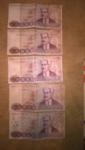 billete de 50000 cruzeiros-lote de 5 billetes