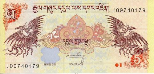billete de bhutan 5 ngultrun unc apo