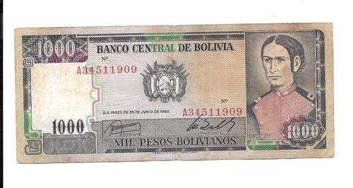 billete de bolivia.  1000 bolivianos 1982