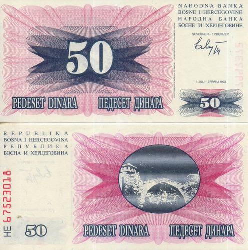 billete de bosnia herzegovina 50 dinares unc apo