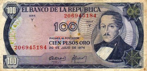 billete de cien pesos cenizo de colombia