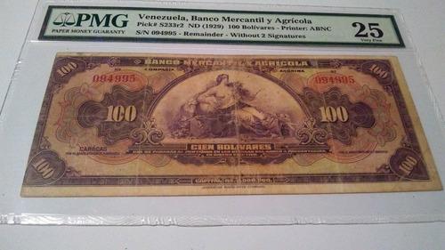 billete de colección 100 banco mercantil y agrícola