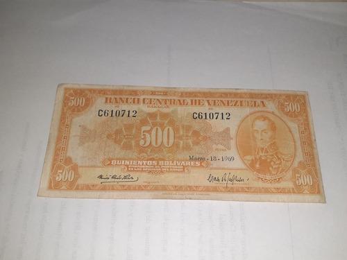 billete de colección 500 bs canario buen estado 1969