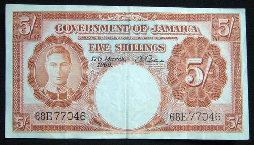 billete de colección de jamaica año 1960 de 5 shillings