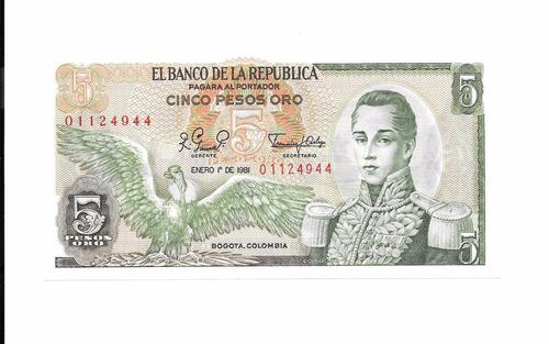 billete de colombia.  5 pesos 1981 unc