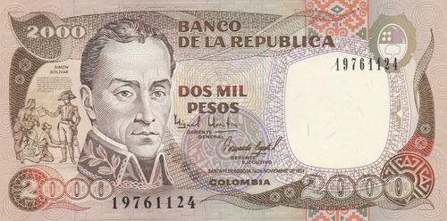 billete de colombia antiguo de 2000 pesos año 1994