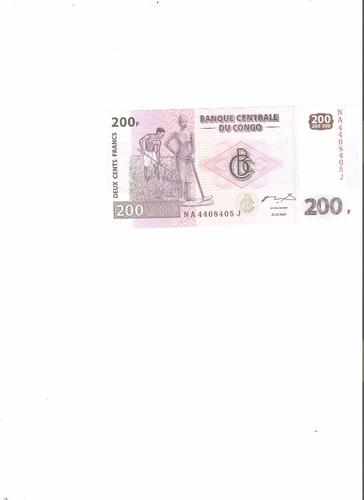 billete de congo.  200 francos 2007 unc