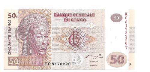 billete de congo.  50 francos 2007 unc