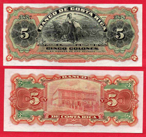 billete de costa rica 5 colones 1901 (formula dama)