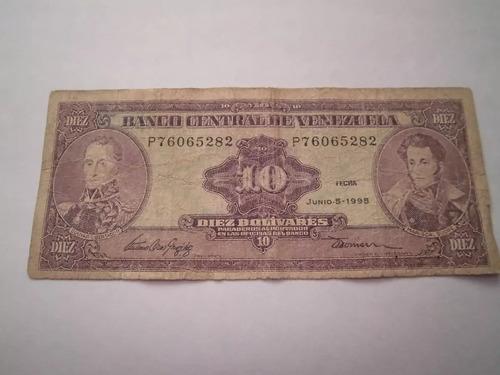 billete de diez antiguo