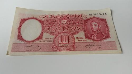 billete de diez pesos