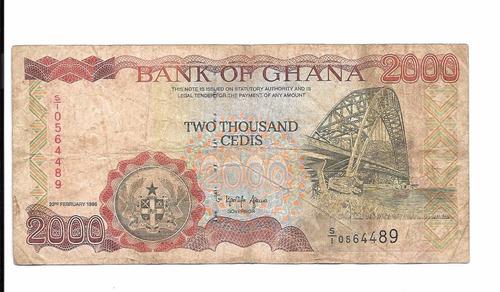 billete de ghana.  2000 cedis 1996