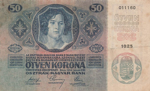 billete de hungria de 50 koronas año 1914 antiguo