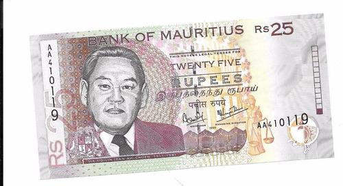 billete de islas mauricio.  25 rupias 1999 unc