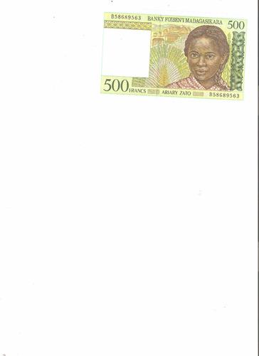 billete de madagascar.  500 francos 1994 unc