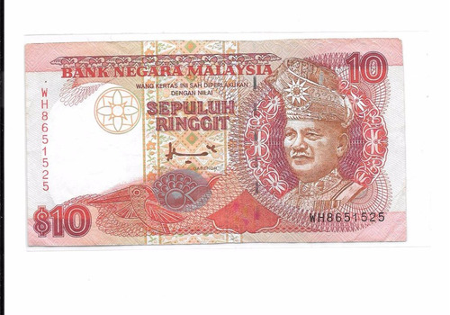 billete de malasia de 10 ringitt 1995