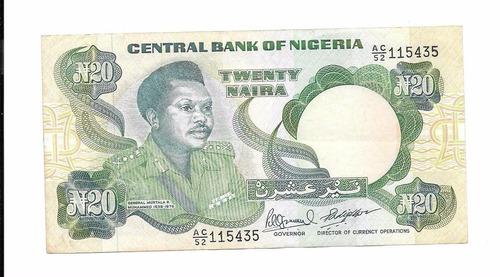 billete de nigeria.  20 naira 1987