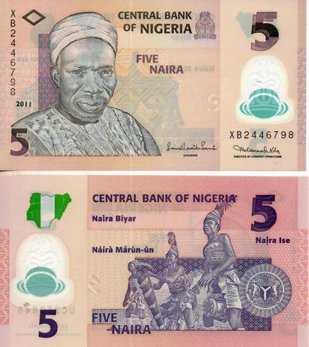 billete de nigeria 5 naira polimero unc apo