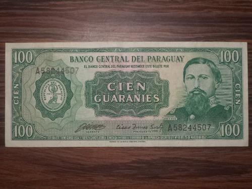 billete de paraguay 100 guaranies 1952 unc