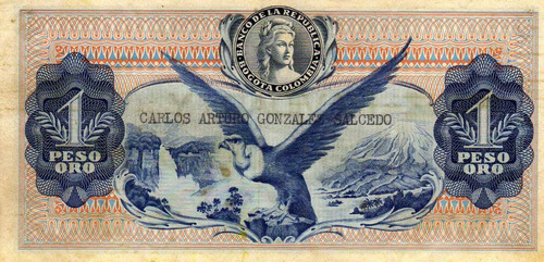 billete de un peso de colombia con dedicatoria