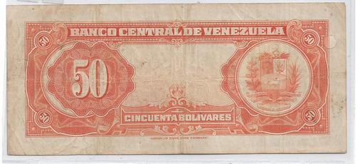 billete de venezuela 50 bolivares 1958 f-6 38v