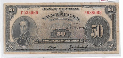 billete de venezuela 50 bolivares 1958 f-6
