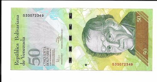 billete de venezuela.  50 bolívares 2012