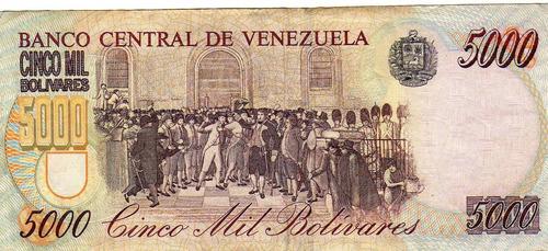 billete de venezuela de 5.000 bolivares