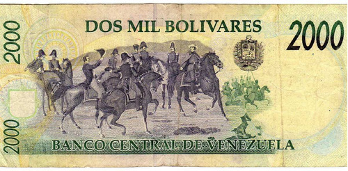billete de venezuela de dos mil.1.998.