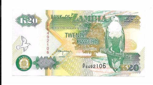 billete de zambia. 20 kwachas 1992 unc