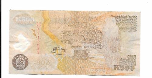 billete de zambia.  500 kwachas 2008
