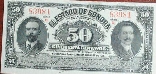 billete del estado de sonora
