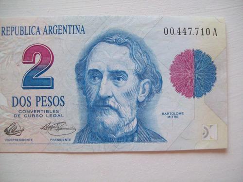 billete dos $ 2 pesos primer diseño sin/circ.  a 00.447.710