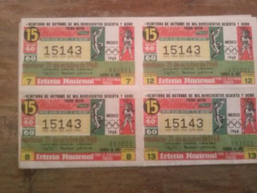 billete entero de la loteria nacional d las olimpiadas d 68