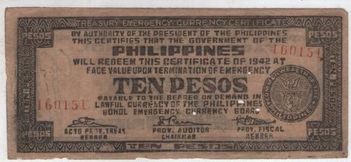 billete  filipinas 10 pesos  1942 ocup.japonesa mb+